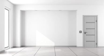 Empty white minimalist living room