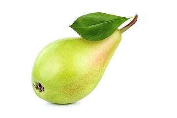 fresh, yellow, pear on white background