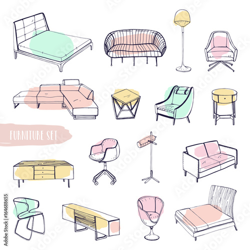 Set Of Various Furniture Hand Drawn Different Types Sofas Chairs