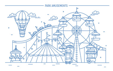 Nice horizontal banner of amusement park. Circus, ferris wheel, attractions, side view with aerostat in air. Monochrome line art vector illustration.