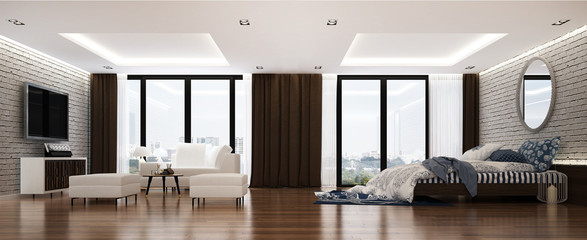 The 3D rendering interior of modern living room and bedroom and service apartment design and white brick wall