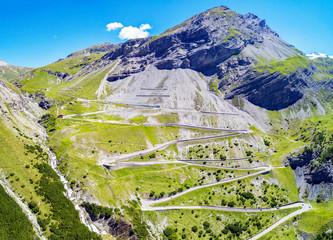 Stelvio National Park - Valle del Braulio - Vista aerea della strada e tornanti