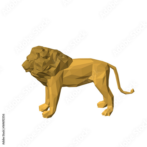 Polygonal lion. Isolated on white background. 3D Vector illustration.
