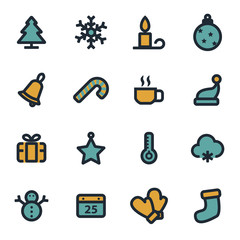 Vector flat winter icons set
