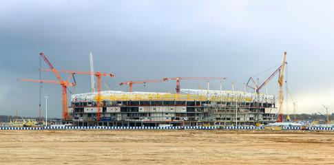 Foto op Plexiglas Stadion construction, stadium, exterior, sports, crane, work, urban, industry, soccer
