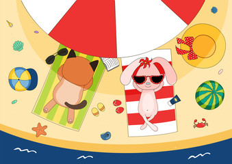 Hand drawn vector illustration of a cute koala cat and bunny in sunglasses lying on towels, in the shade of a beach umbrella, with straw hat and watermelon.
