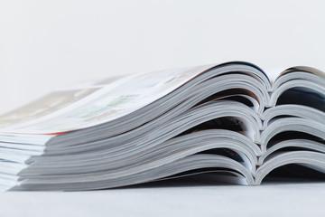 close up stacking of magazine