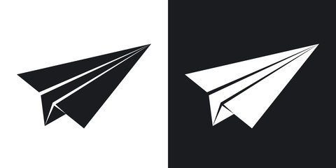 Vector paper airplane icon. Two-tone version on black and white background