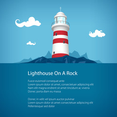 Lighthouse at the Ocean and Text ,Travel and Tourism Concept, Poster Flyer Brochure Design,Vector Illustration