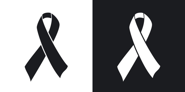Vector AIDS awareness ribbon sign or icon. Two-tone version on black and white background