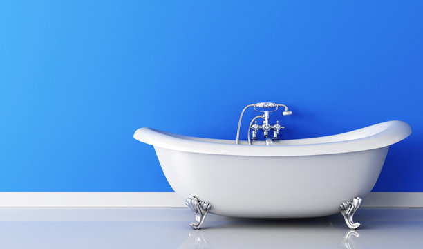 Bathtub and faucet and blue wall