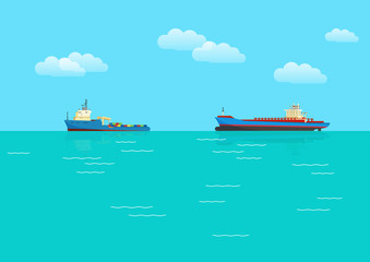 Cargo ships and sea. Vector illustration.
