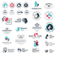 Premium quality beauty and nature icons. Set of vector illustration concepts of labels and stickers for cosmetics, healthcare, natural and organic products, wellness and spa, beauty salon, jewelry