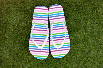 Flip-flops on the green grass