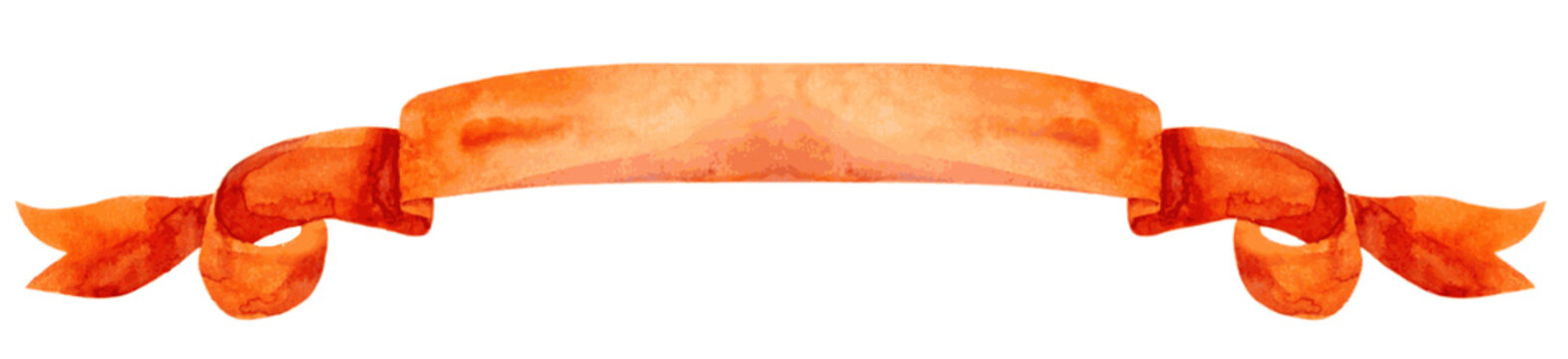 Watercolor dark orange ribbon or banner. Vector Illustration