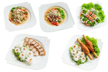 Collection of Vietnamese food, isolated on white background. Can use to create menu in the restaurant.
