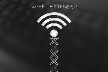 wi-fi extender, connection symbol on spring