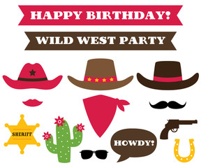 Cowboy party hats and western design elements