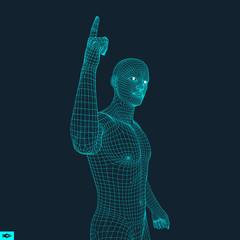 Man Pointing his Finger. 3D Model of Man. Geometric Design. Vector Illustration. 3d Polygonal Covering Skin. Human Polygon Body. Human Body Wire Model.