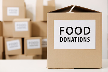 Packages with donated food ready for shipment