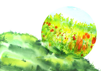 Watercolor illustration. Ecological drawing, logo, postcard. Green grass, flowers, wild plants