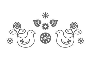 Scandinavian folk decoration with cute bird vector