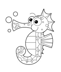 cartoon happy and funny looking seahorse with bubbles - with coloring page