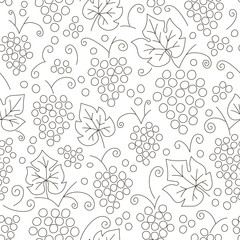 Seamless grapes pattern. Fruit vector background. Black and white background with juicy fruit. Natural and healthy grape food. Fresh juice
