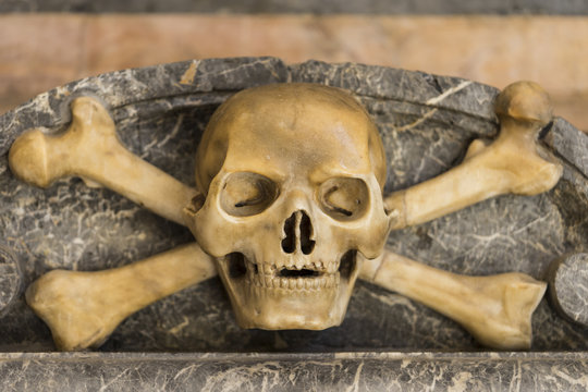 marble skull with crossed bone
