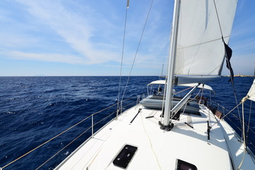 Luxury yacht at sea race. Sailing regatta. Cruise yachting