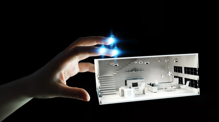 Businesswoman touching white 3D rendering apartment