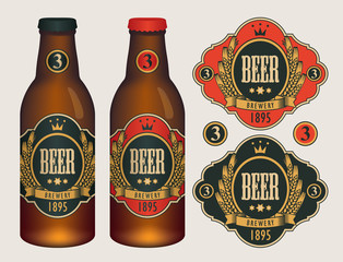 Vector beer labels with coat of arms, wreath of wheat and ribbon in curly frame on black and red background in retro style. Two template labels for beer and neck labels on glass bottles with caps.