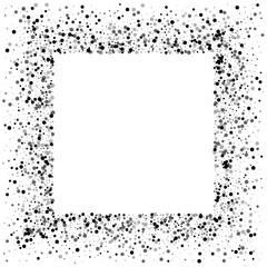 Dense black dots. Square messy frame with dense black dots on white background. Vector illustration.