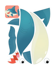 cartoon character puzzle - isolated shark - illustration for children
