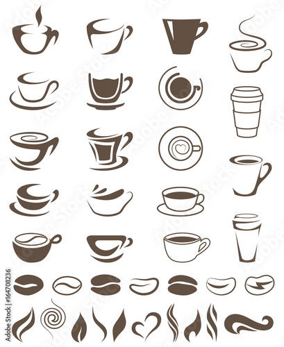 coffee cups beans and steam shapes template for logos fotolia com