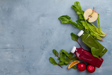 Fruit and vegetables smoothie in bottle