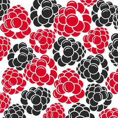 Raspberries and blackberries. Abstract berries on white background