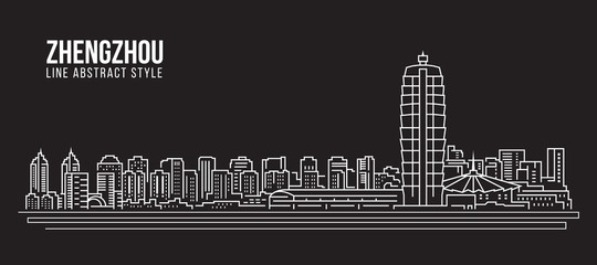 Cityscape Building Line art Vector Illustration design -  Zhengzhou city