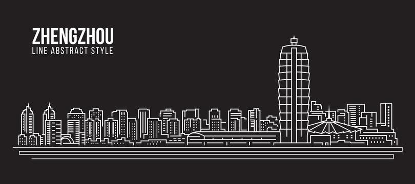 Cityscape Building Line art Vector Illustration design -  Zhengzhou city