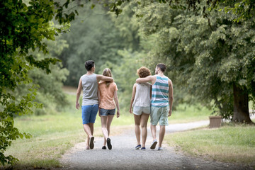 Rear view of two couples walking on footpath in park