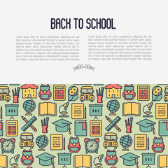 Back to school concept with thin line icons: school bus, globe, books, backpack, owl, bell, chalkboard. Vector illustration for banner, template of web page, print media.