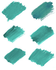 A set of different fragments of the background in marrs green color painted with watercolors