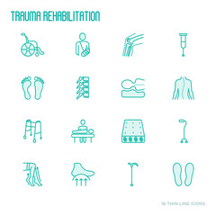 Orthopedic and trauma rehabilitation thin line icons for clinics and medical centers. Vector illustration.