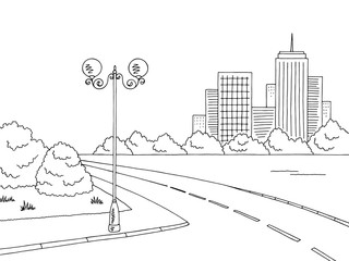 Street road graphic black white city landscape sketch illustration vector