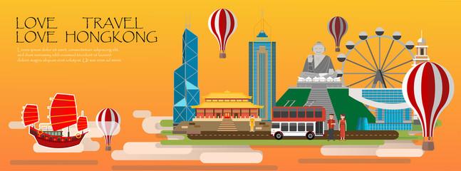 Travel infographic. Hongkong infographic tourist sights of China; welcome to Hongkong. China infographic. Travel to Hongkong presentation template