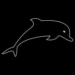 Dolphin white color path  icon .