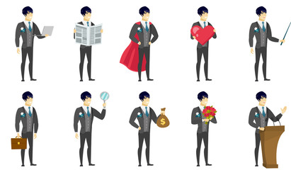 Vector set of illustrations with groom character.