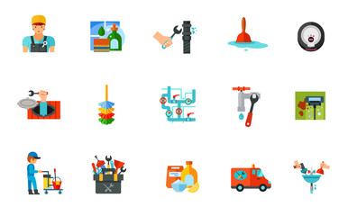 Plumber and cleaning icon set