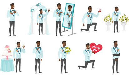 African-american groom vector illustrations set.