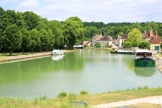 The historic Canal de Bourgogne in Tanlay, Burgundy, France